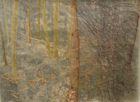 "The Golden Bough, 15 ½"" x 21 ¾"", paper with beeswax, encaustic and ink, photo on fabric and thread, 2014."
