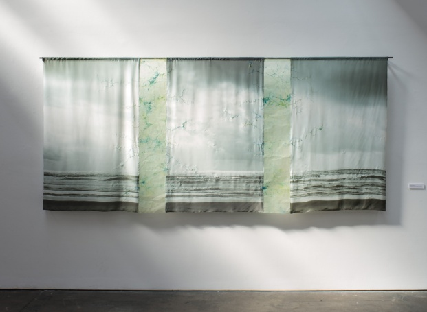 "Truth & Beauty, photo on silk, embroidery thread, paper with encaustic and ink. 52""x125"". 2015"