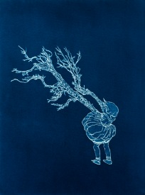 "Martha Jane, From the Archive of SIEN Collective, cyanotype from paper negative, 11""x15"", 2015"