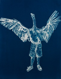 "Swan Boy, From the Archive of SIEN Collective, cyanotype from paper negative, 11""x15"", 2015"