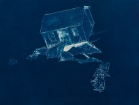 """Oops, From the Archive of SIEN Collective, cyanotype from paper negative, 11""""x15"""", 2015"""