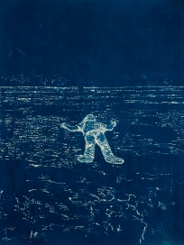 "Afloat, From the Archive of SIEN Collective, cyanotype from paper negative, 11""x15"", 2015"
