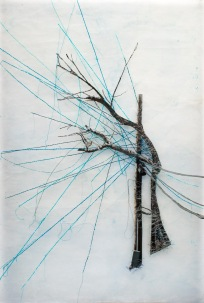 """Tree on a Wire, paper with encaustic, embroidery thread, photo on fabric, 25"""" x 38.5"""", 2015."""