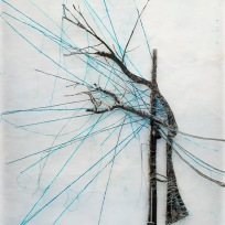 "Tree on a Wire, paper with encaustic, embroidery thread, photo on fabric, 25"" x 38.5"", 2015."