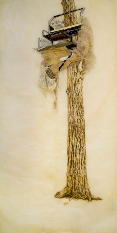 "Baba Yaga Blind, 2016, paper with encaustic, beeswax, ink, thread, and found materials. 73""x 37""."
