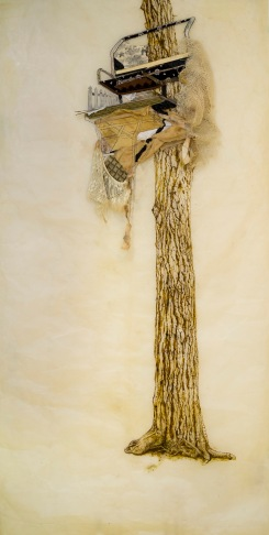 """Baba Yaga Blind, 2016, paper with encaustic, beeswax, ink, thread, and found materials. 73""""x 37""""."""