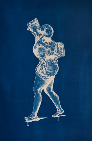 "The Wanderer, cyanotype from drawn paper negative, 34""x54"""